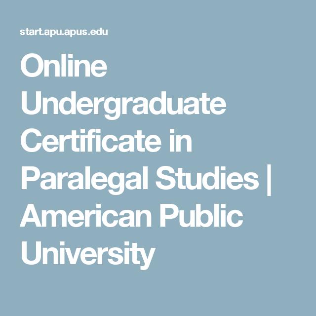 Online Undergraduate Certificate In Paralegal Studies American