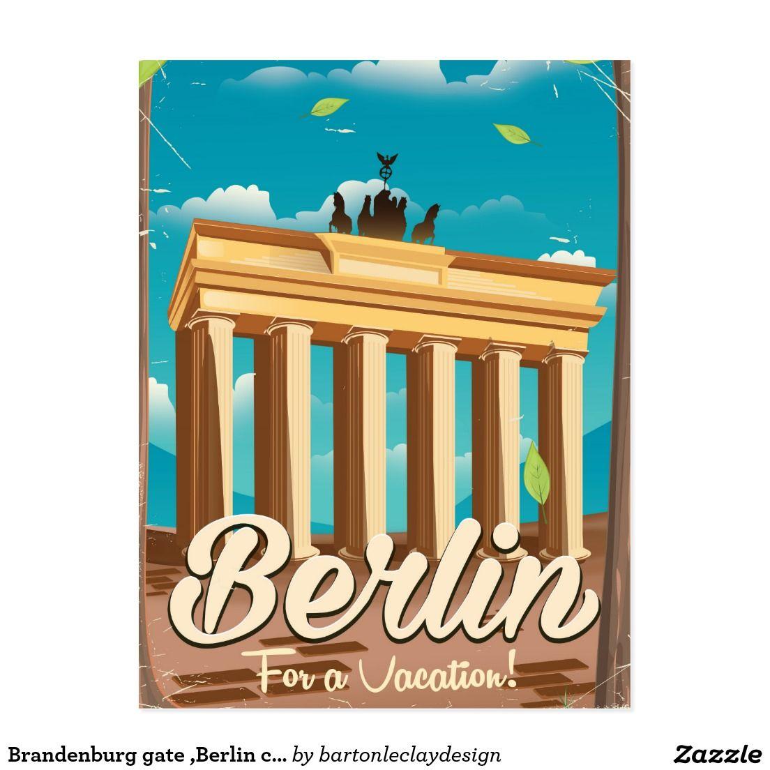 Brandenburg Gate Berlin Cartoon Travel Poster Postcard Zazzle Com Travel Posters Brandenburg Gate Vintage Travel Posters