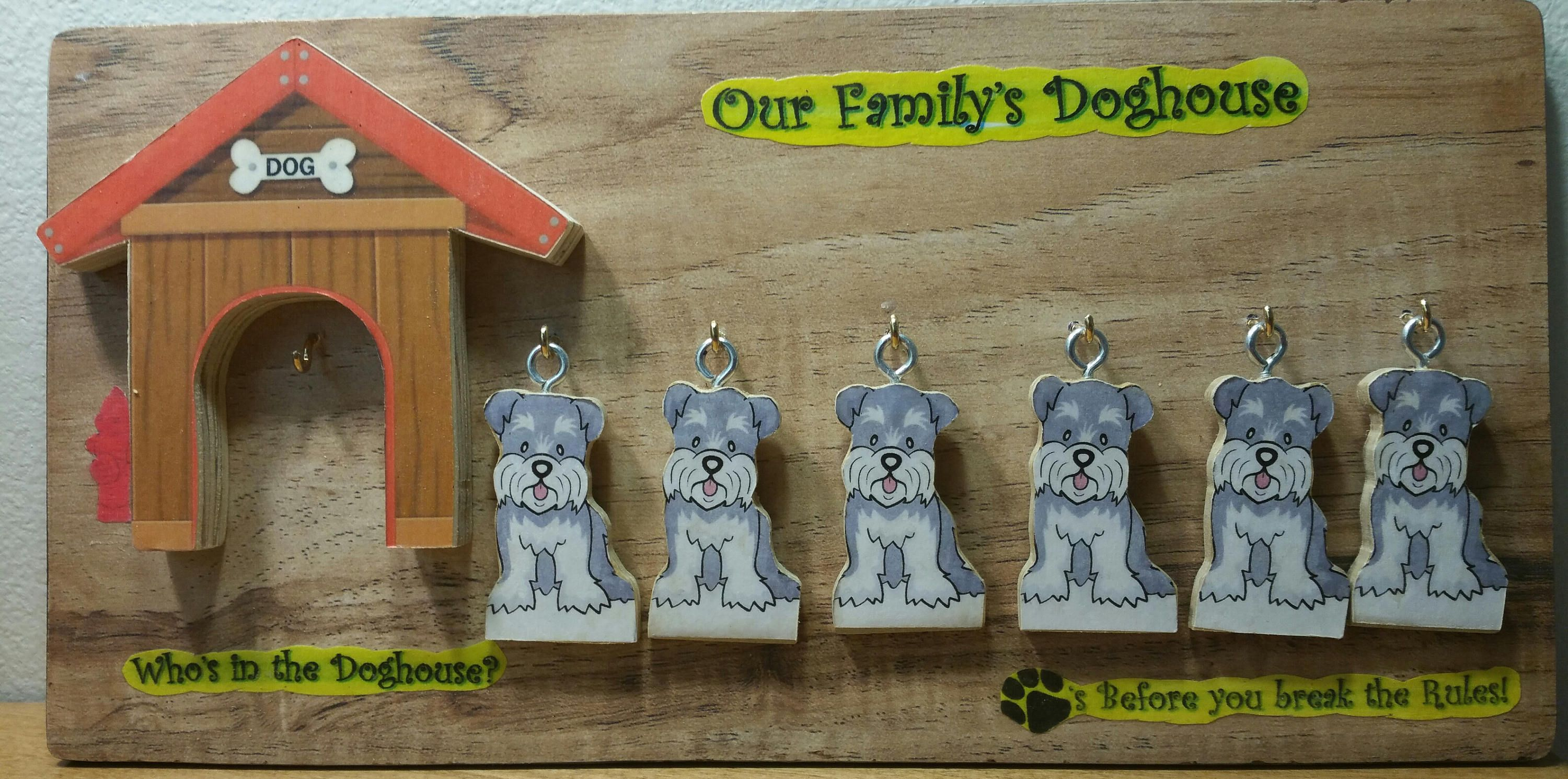Who S In The Doghouse Family Of 6 Schnauzer Dogs Deluxe Wall
