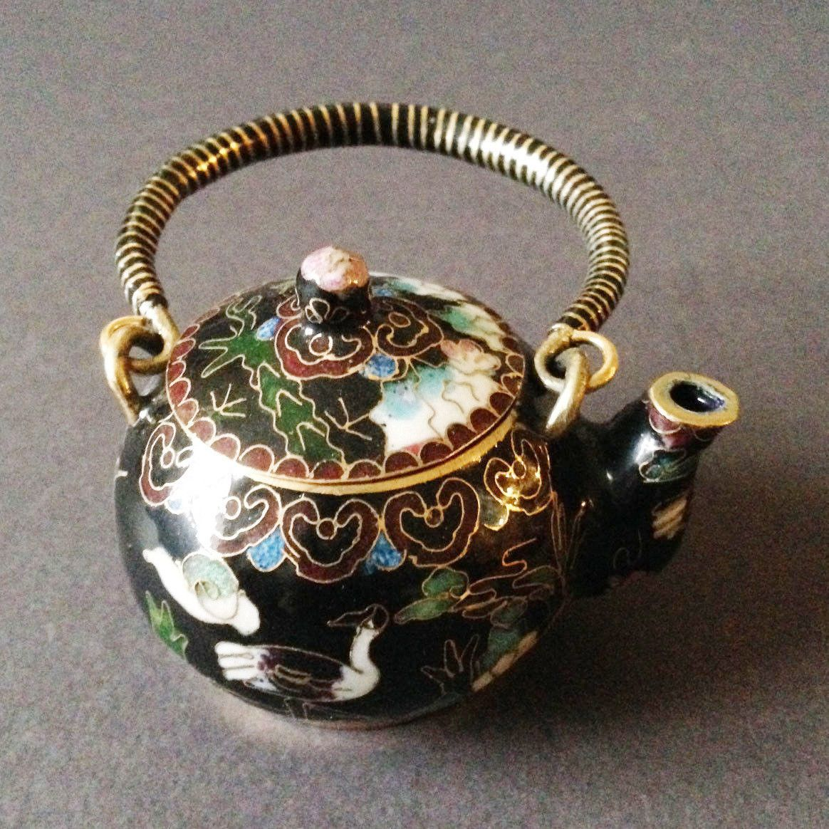 Chinese Vintage Cloisonne Tea Pot Teapot Bronze Brass Copper Enamel Handmade Blk | eBay