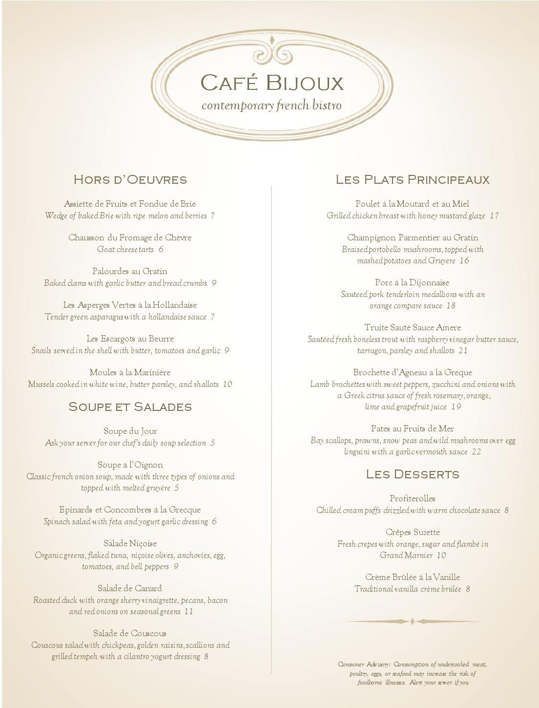 Elegant French Bistro Menu Ideas