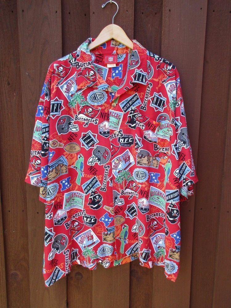 Tampa Bay Buccaneers Rayon Hawaiian Button Down NFL Football Aloha Shirt Sz  2XL  NFL  Hawaiian f0f7c5a51