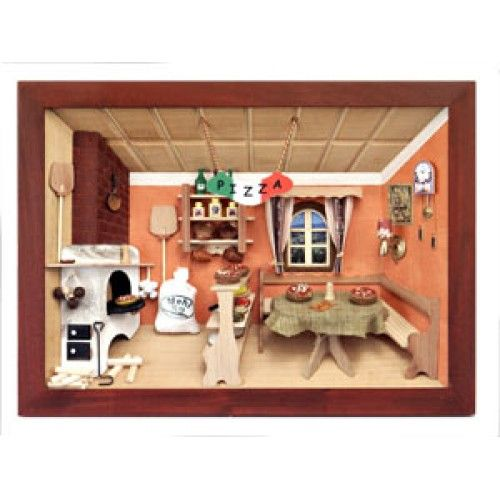 Kitchen Diorama Made Of Cereal Box: German Wooden 3D-picture Box-Diorama Pizza