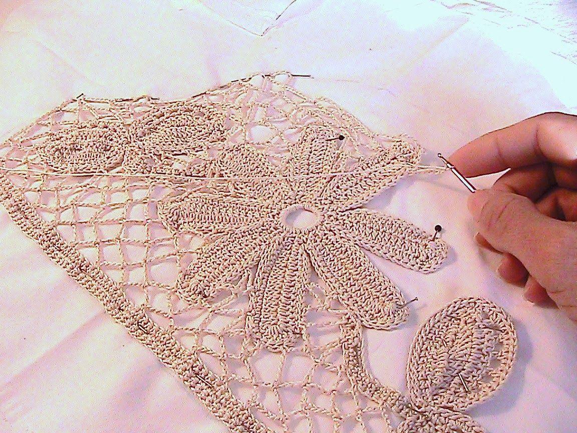 how to join irish crochet motifs | Working mesh stitch around motifs ...