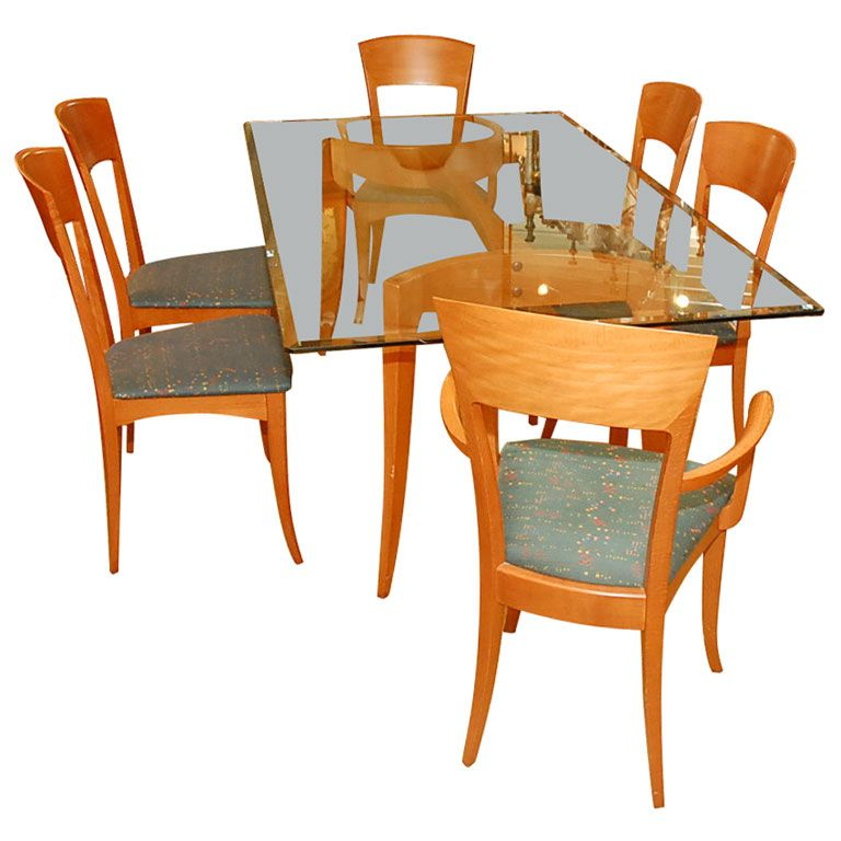 italian dining table with six chairs by a sibau antiques modern and modern dining room tables. Black Bedroom Furniture Sets. Home Design Ideas