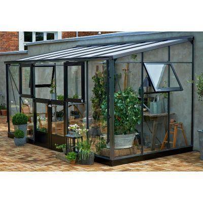 Serre veranda adoss e aluminium laqu anthracite et for Veranda de jardin