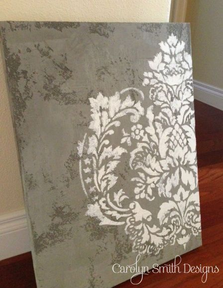 Diy tutorial textured plaster canvas with raised stencil for Plaster wall art