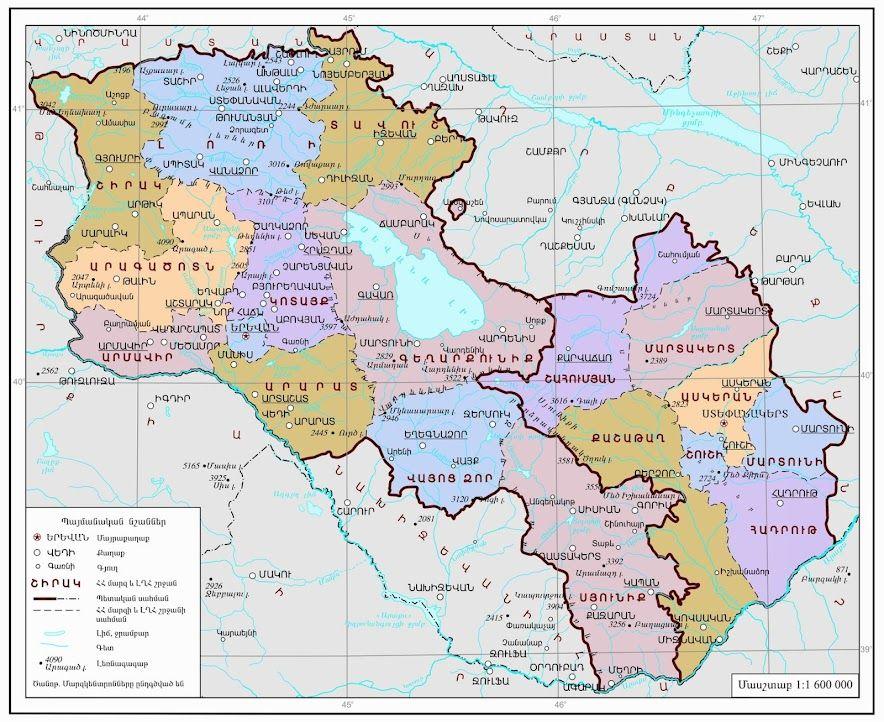 Map Of Armenia And Nagorny Karabakh Armenia Mappery Map Armenia Historical Maps