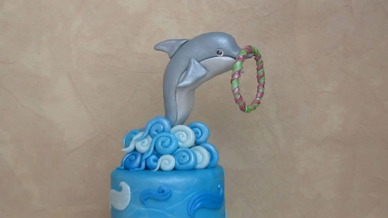 Fondant dolphin cake topper delfino in pasta di zucchero
