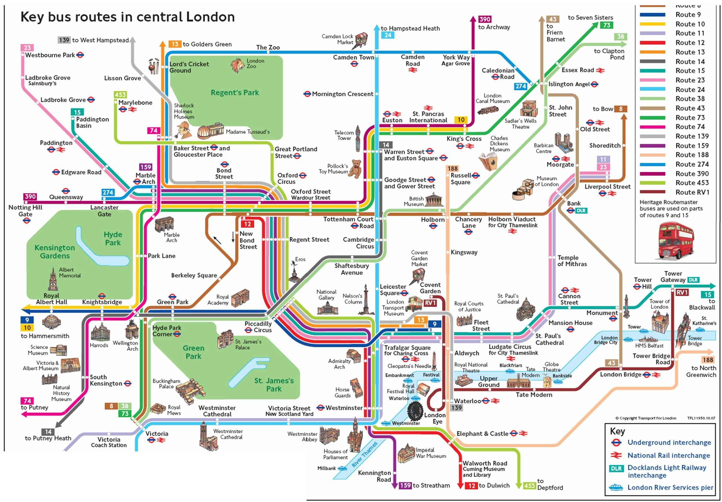 london central bus routes map london uk mappery
