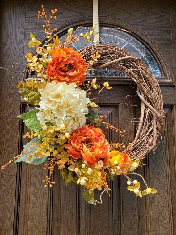 Fall Wreaths for Front Door Wreaths Outdoor Wreath Pink Fall Wreath Autumn Wreath Door Hanger Fall D #fallwreaths