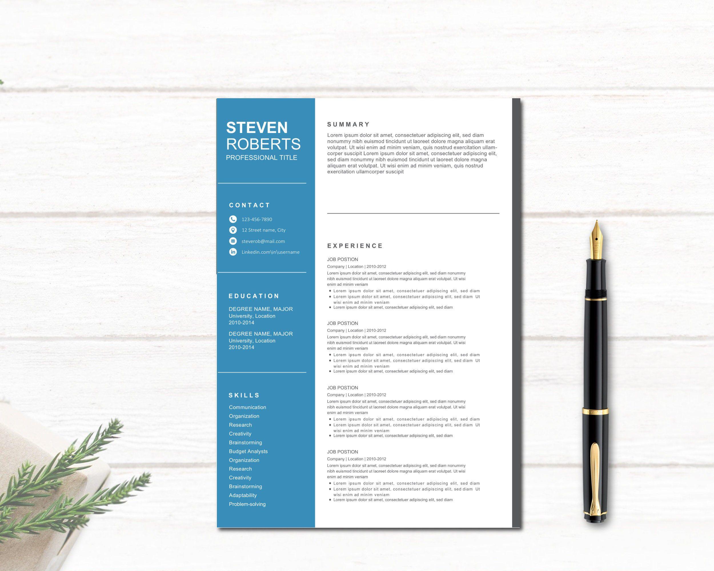 2 Resume Templates And 2 Cover Letters Cv Template Curriculum Vitae Curriculum Lettre De Motivation Simple