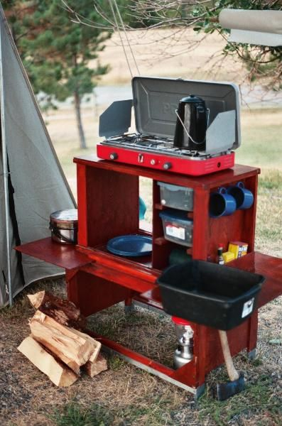 camp kitchen box this links to a set up you can buy but i could see making this out of an old craftsman tool box - Camping Kitchen