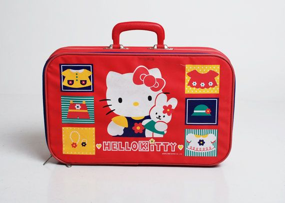 e407abda686 Vintage 90s Hello Kitty Bunny Red Suitcase by twinheartsvintage on Etsy.