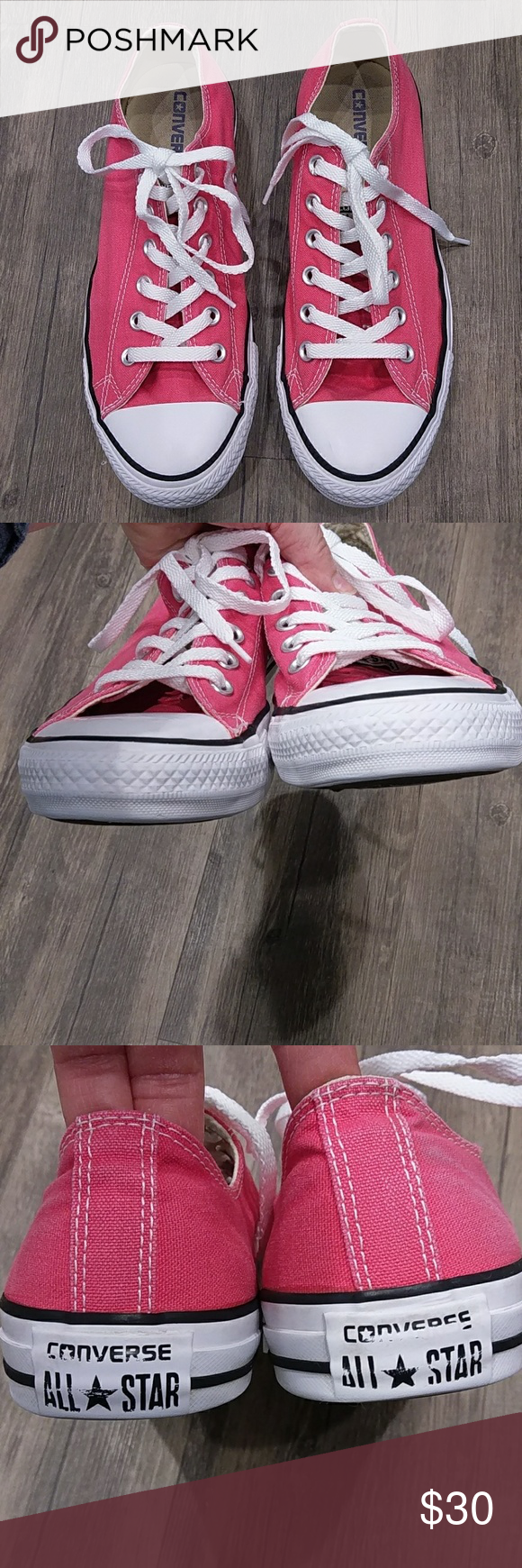 Converse All Star Bright Pink Low Top Sneakers 10M Classic style lace up.Has a small mark on the heel only you know it is there.pet and smoke free home Converse Shoes Sneakers
