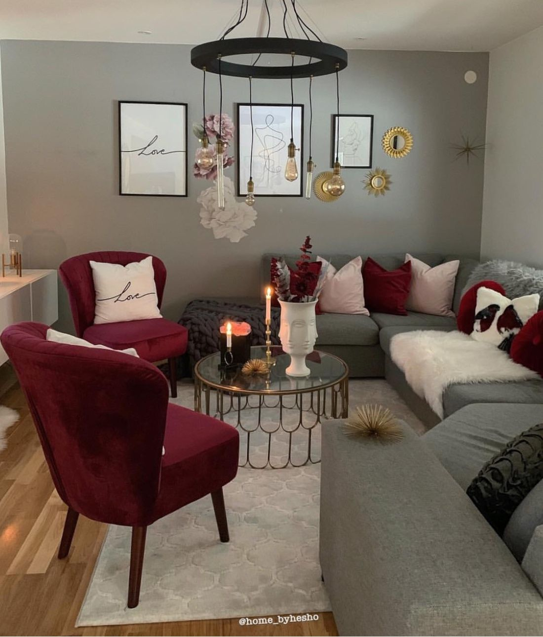 Maroon Grey And White Living Room: Pin By Krystal Goode On My Dream Home