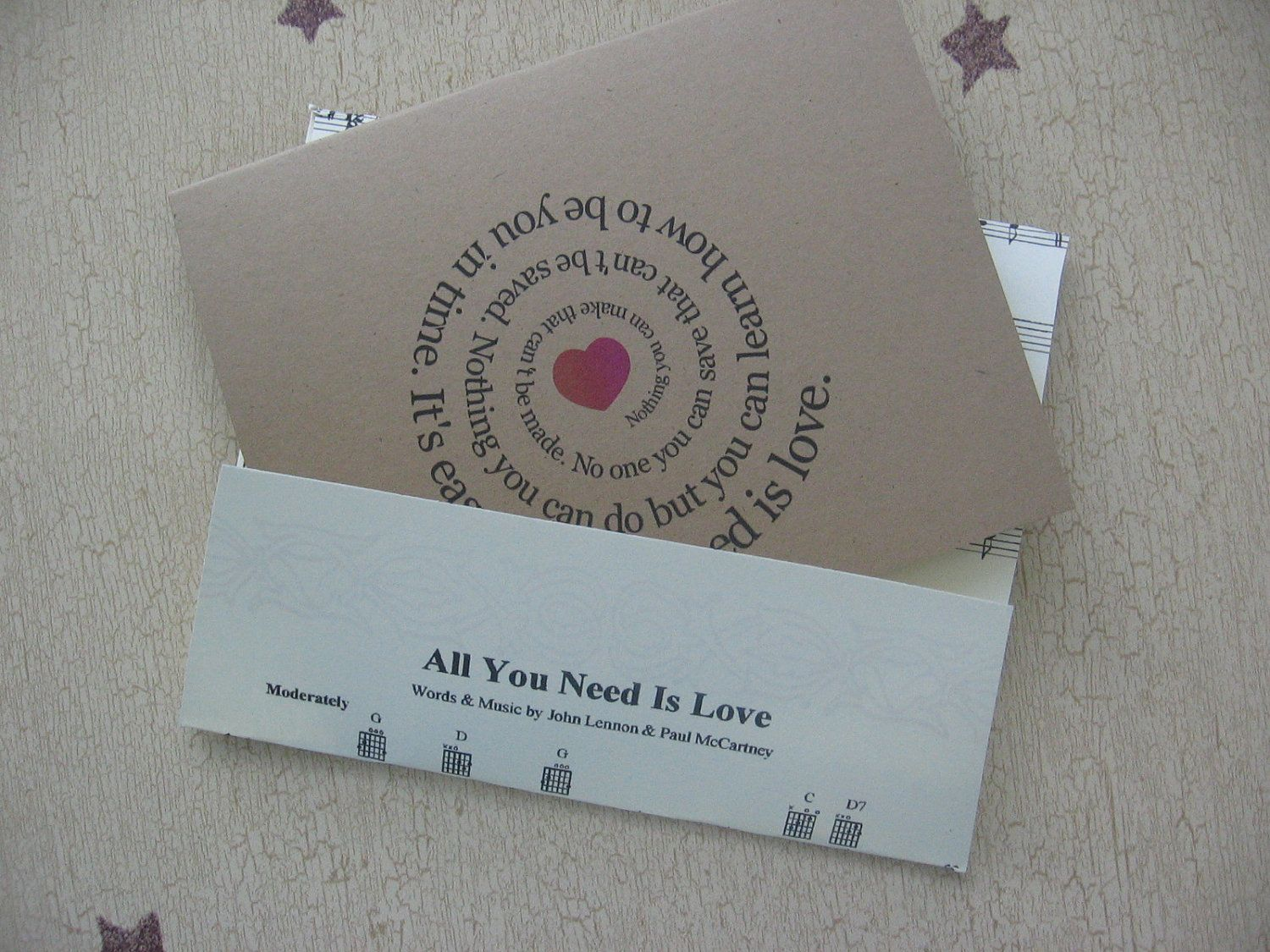 All You Need Is Love Wedding Invitations: All You Need Is Love Song Lyric Note Card