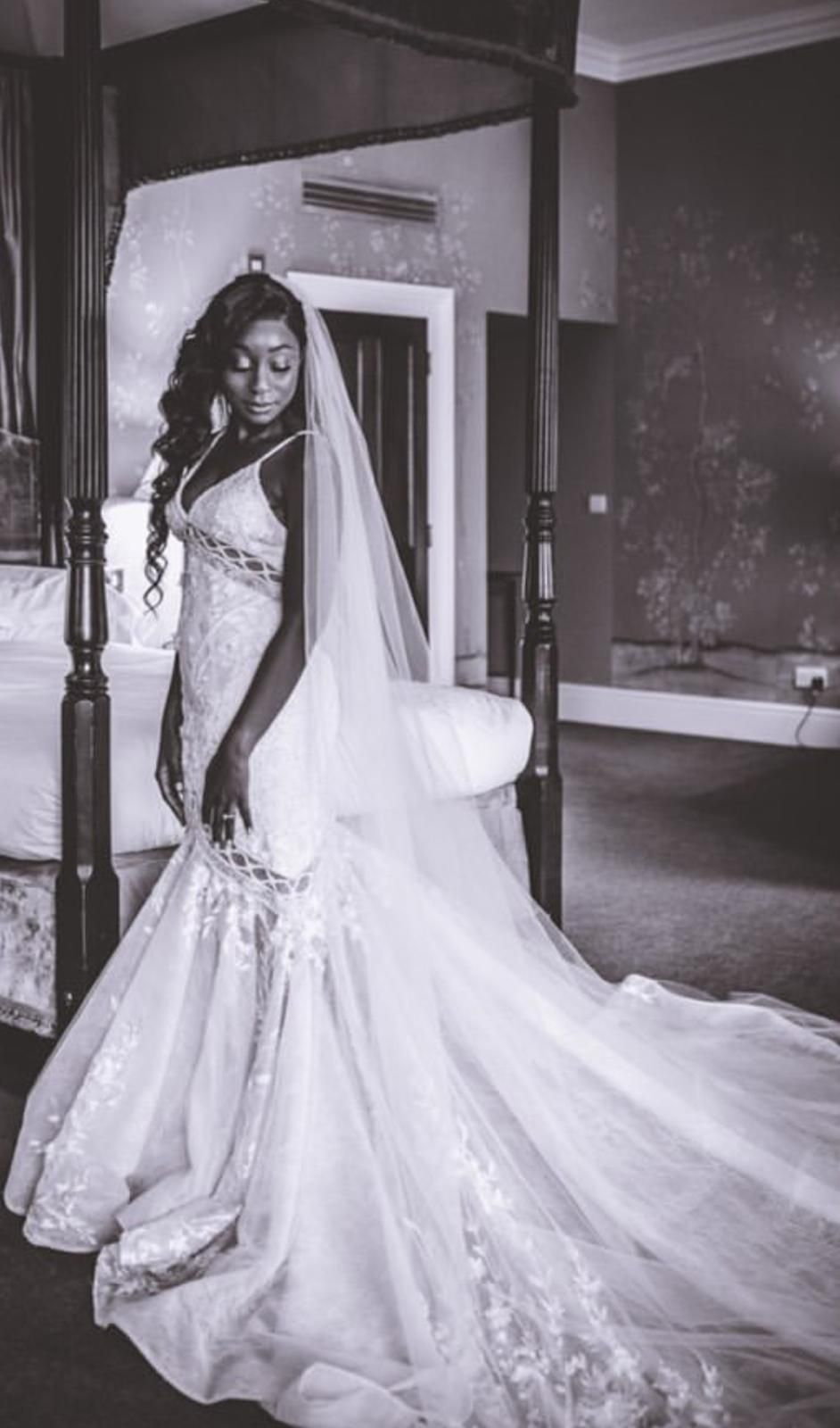 New real bride wearing couture Stella gown by Yaniv Persy New real bride wearing couture Stella go