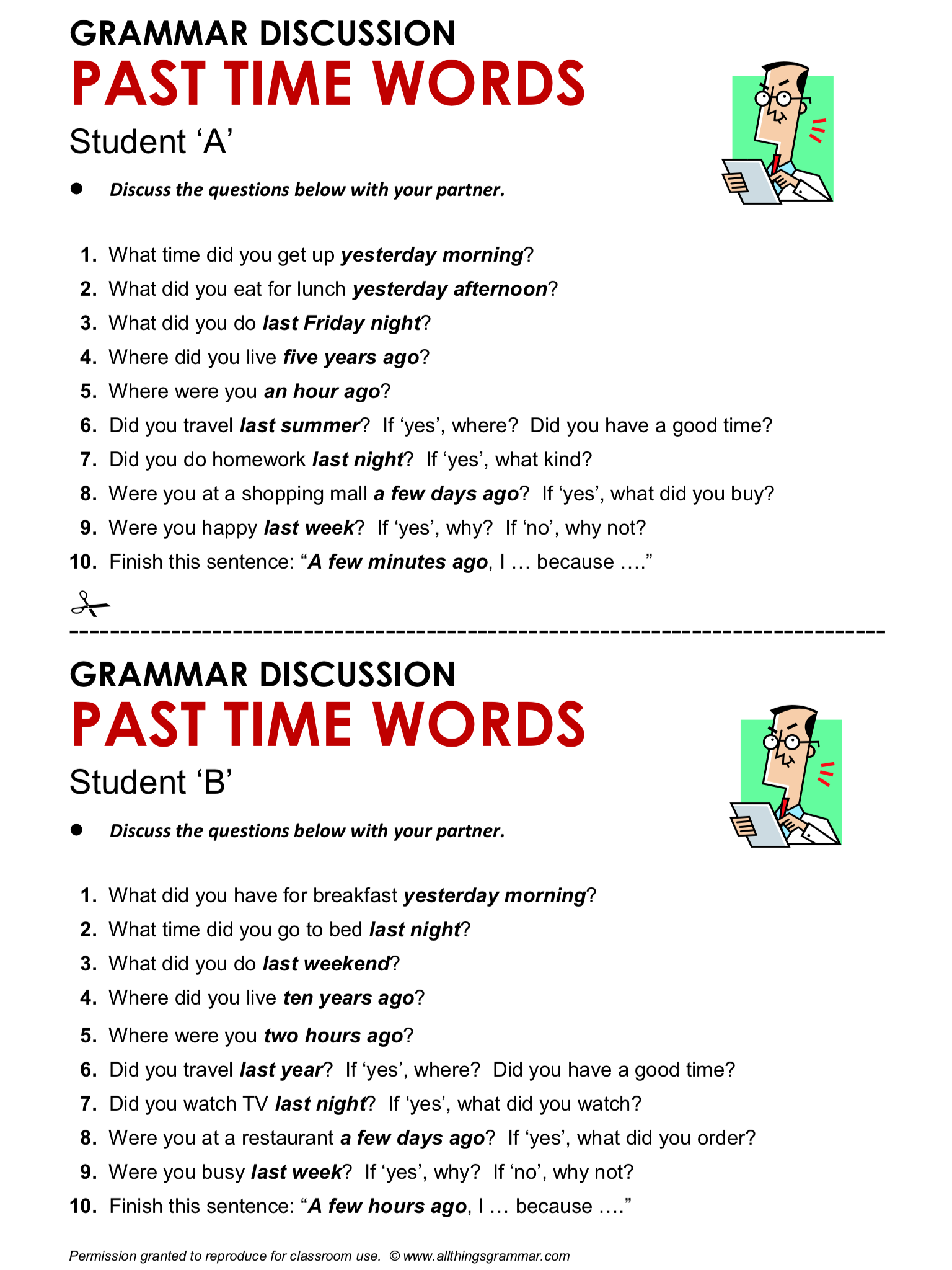 Grammar Discussion Past Time Words S