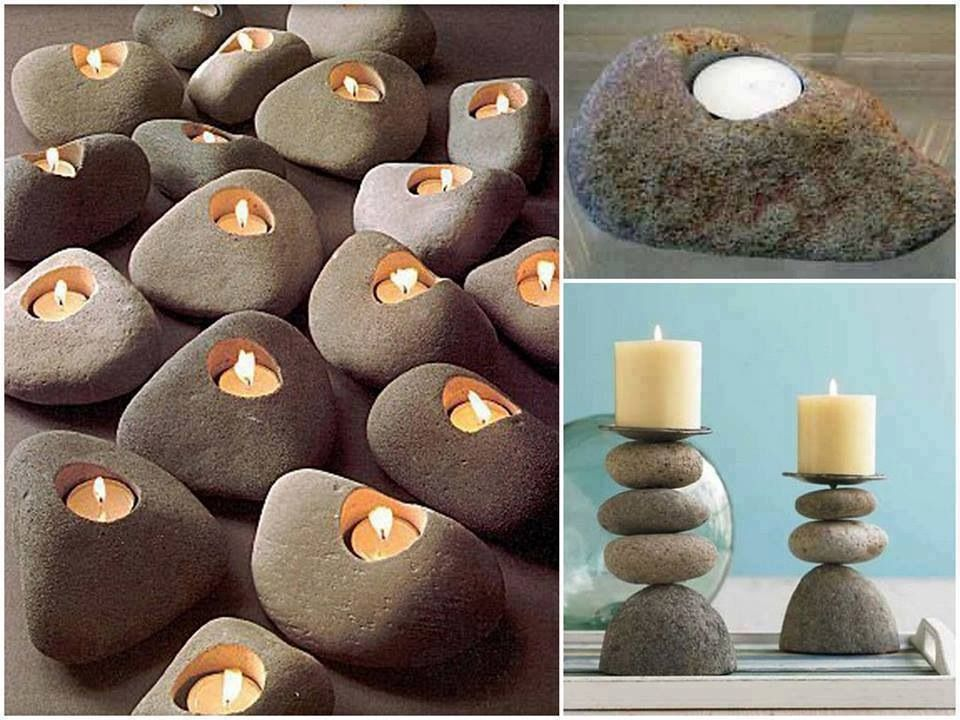 River Rock Candles Diy Rock Candles Stone Candle Holder Creative Candles