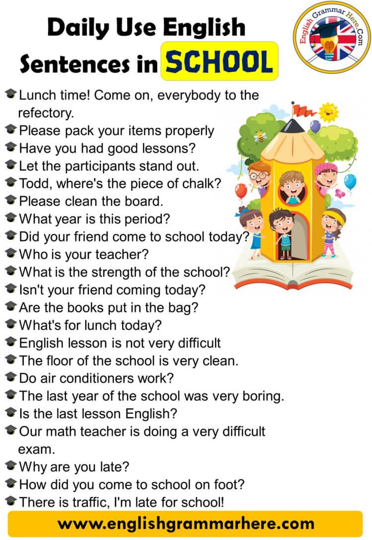 English Speaking Phrases Daily Use English Sentences In School Table Of Contents Daily English Sentences Basic English Sentences English Conversation For Kids [ 1087 x 750 Pixel ]