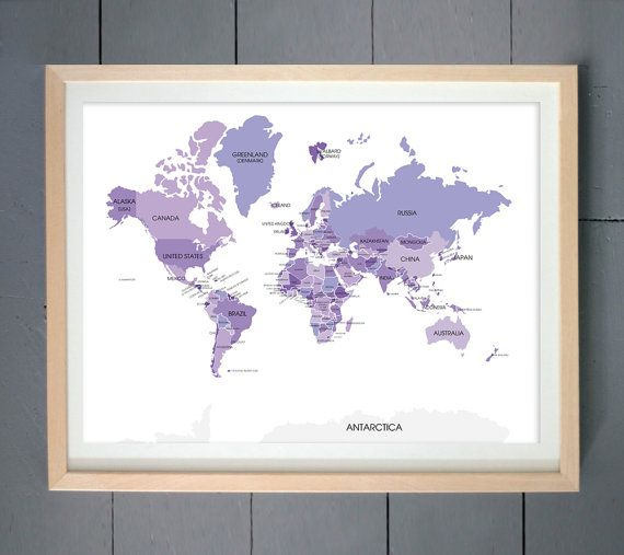 World map poster custom travel map world map wall art my travels world map poster custom travel map world map wall art my travels personalized wanderlust world map travel map canvas purple map art gumiabroncs Gallery