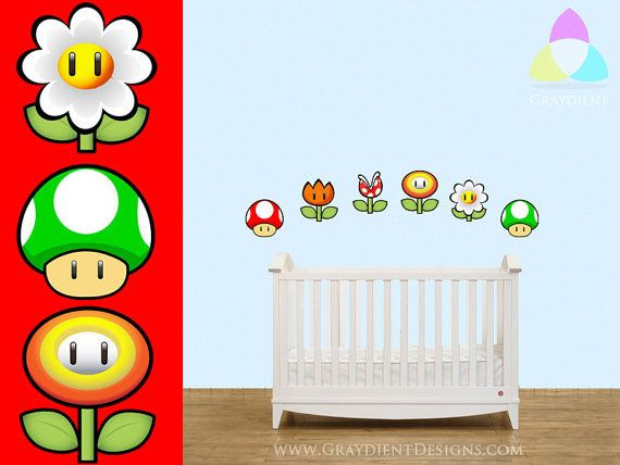Super mario nintendo objects vinyl wall decals great for a nursery or kid 39 s room baby - Mario wall clings ...