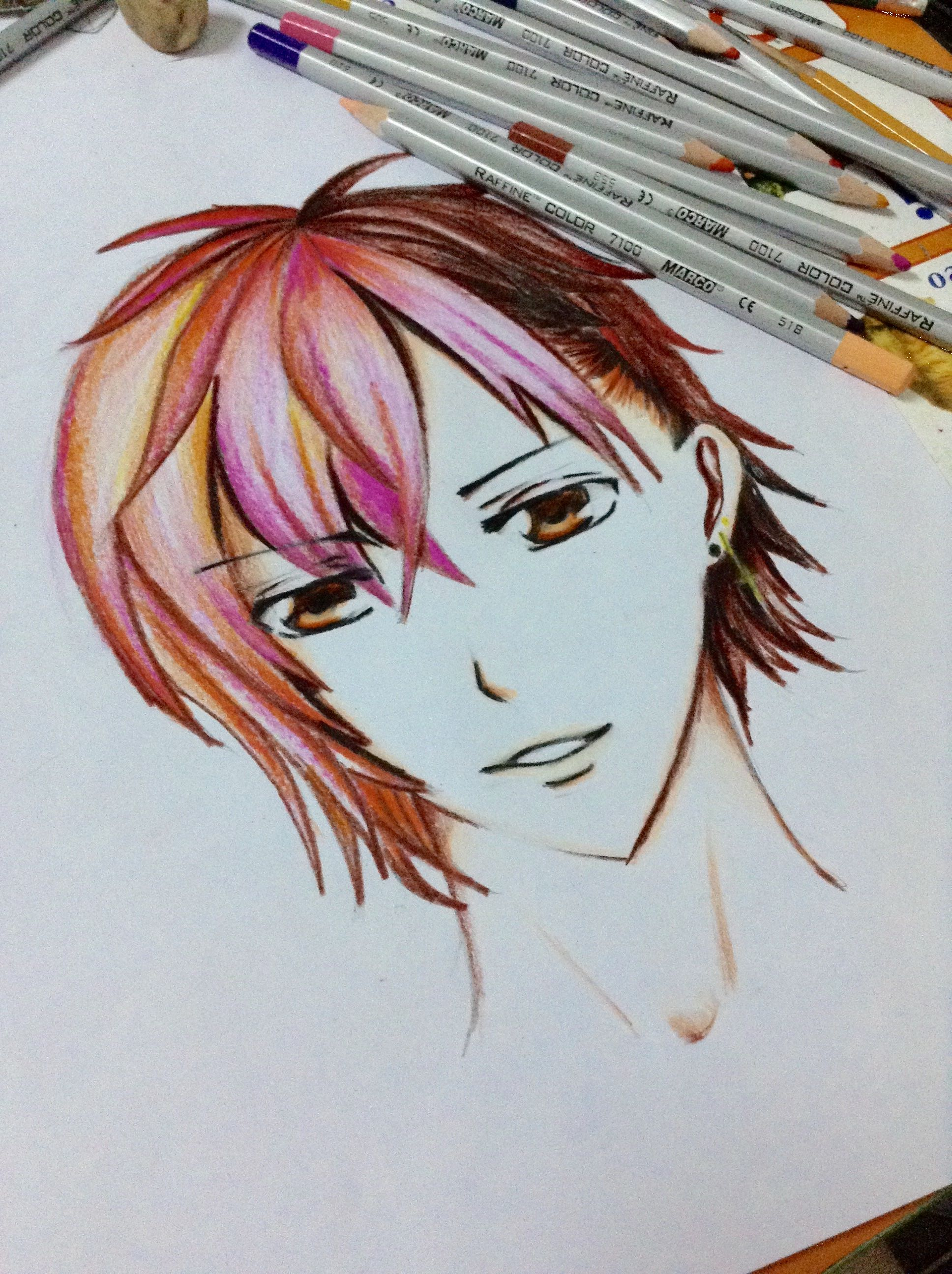 Cute boy color pencil draw anime character drawing anime characters
