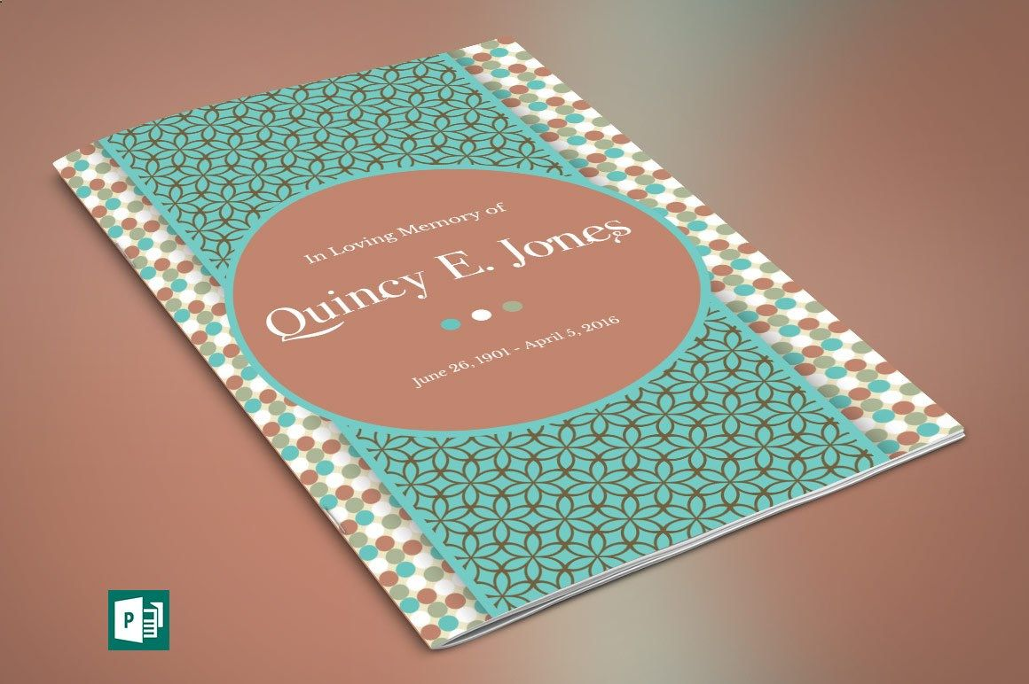 Turquoise Funeral Program Publisher Template by Godserv on Etsy