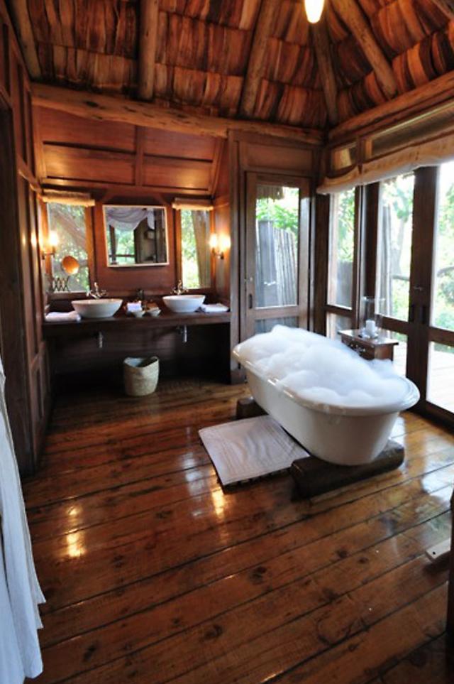 (Calgon Take Me Away Home House Tub Rustic Bathroom Cabin Log Exterior  Design)