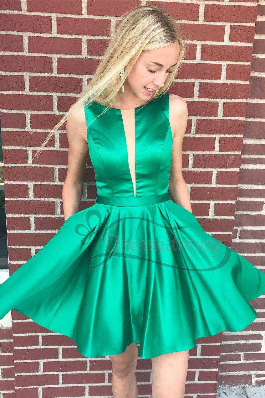 Princess short green homecoming dress with pockets in emma