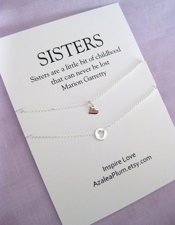 Birthday Gift For 2 Sisters Sterling Silver Necklace Sister