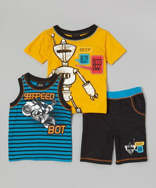 This Yellow Robot 'Beep Blip Beep' Tee Set - Infant & Toddler by Boys Rock is perfect! #zulilyfinds