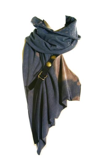 wasteland cowl / scarf / buckle detail / women's fashion