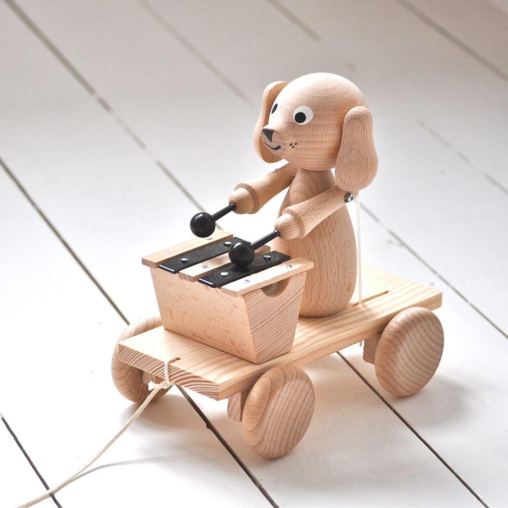 Handmade Wooden Dog with Xylophone walker children's toy