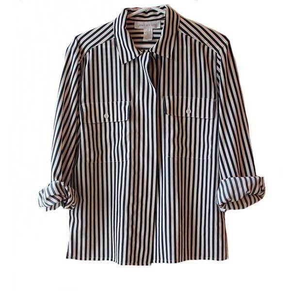 Vtg black and white striped button down pocket blouse 90's ...