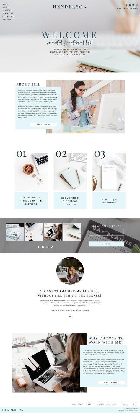 Henderson Avenue Showit Template Website Design For Creative Female Entrepreneurs Photographers And Creative Web Design Website Design Web Design Company