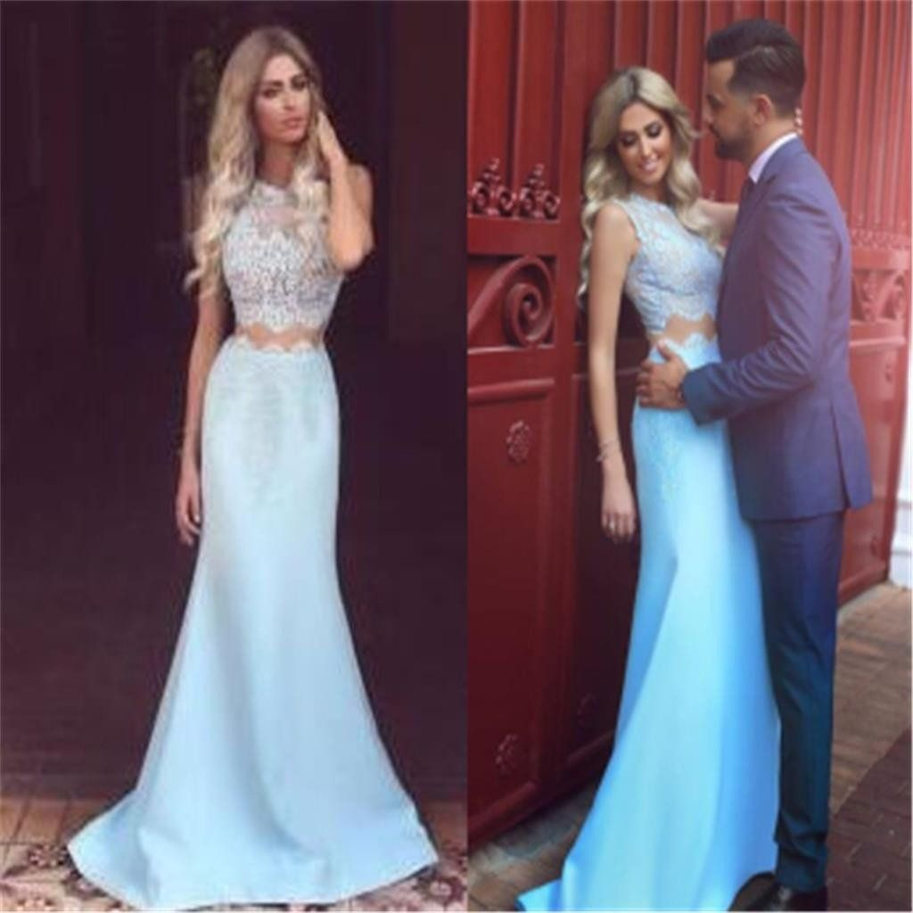 Two pieces strapless mermaid elegant charming evening cocktail prom