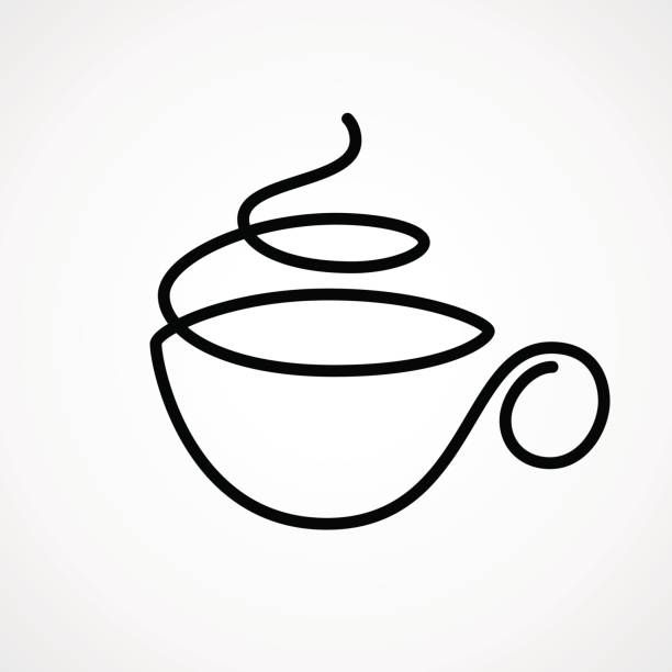 Vector cup of tea or coffee drawn by single continuous line. Eps8.... #coffeecup