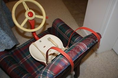 VINTAGE 1950s 1960s CHILDS CAR SEAT WITH STEERING WHEEL 07 04 2013