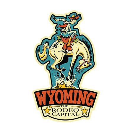 Wyoming Rodeo Retro Travel Sticker In 2019 Cody Wyoming