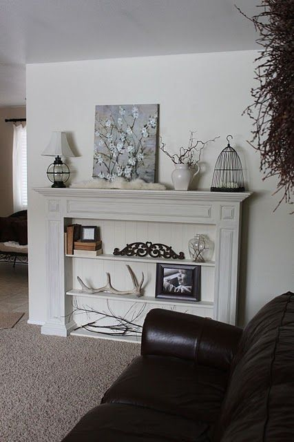 Time For A Rearrangement Faux Fireplace Mantels Fireplace Bookcase Faux Fireplace