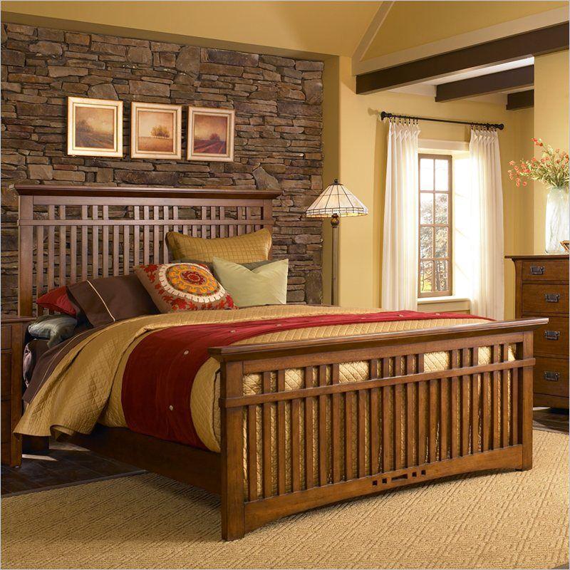 Broyhill Artisan Ridge Slat Bed in Warm Nutmeg 4078