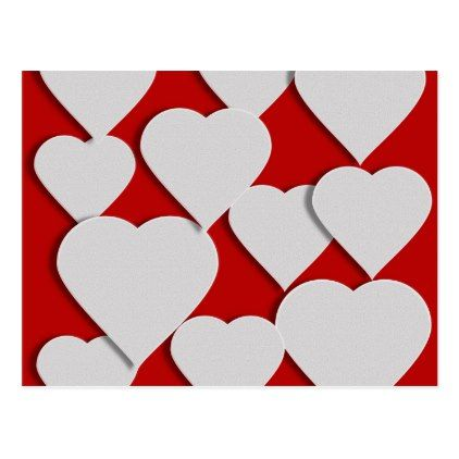 White Hearts On Red Valentine Postcard   Valentines Day Gifts Gift   White  Valentines Day