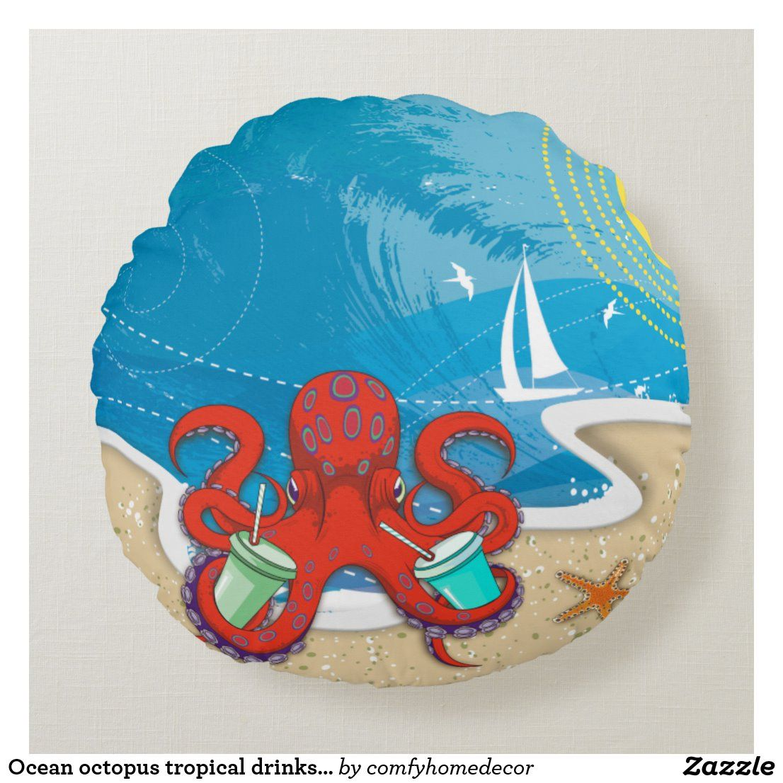Ocean octopus tropical drinks summer beach round pillow