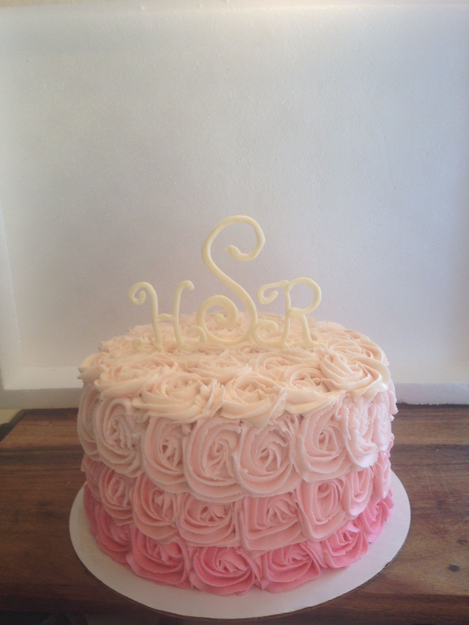 Baby Shower Inch Round Double Stacked Ombre Effect Swirl Rose - Monogram birthday cakes