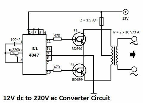 Circuito de inversor de 12 VDC Voltios a 220 VAC