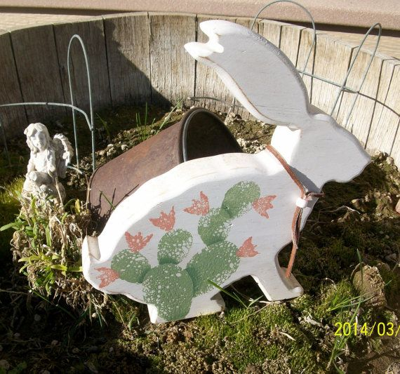 Hand Painted Wooden Jack Rabbit With Cactus  by ToletallyPainted, $16.00