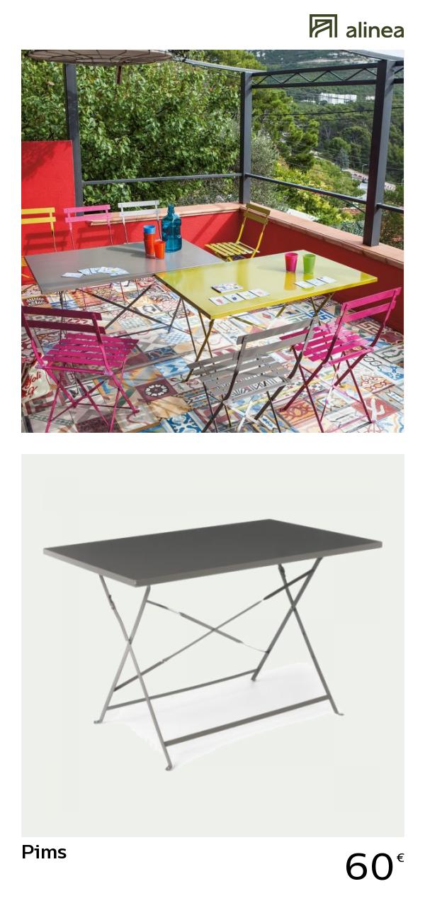 alinea : pims table de jardin pliante taupe en acier (2 à 4 ...