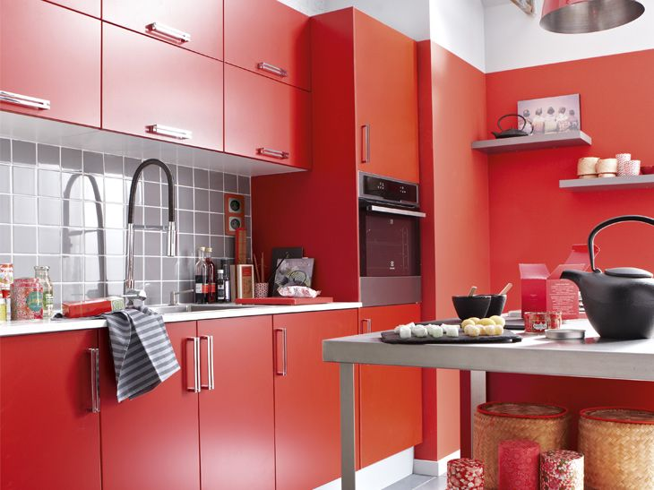 petite cuisine rouge Variedades Pinterest Red kitchen - Photo Cuisine Rouge Et Grise